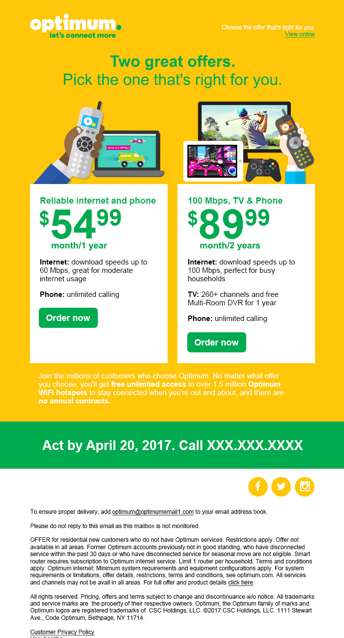 Optimum/Suddenlink 2016 Marketing Emails | John M  Leary